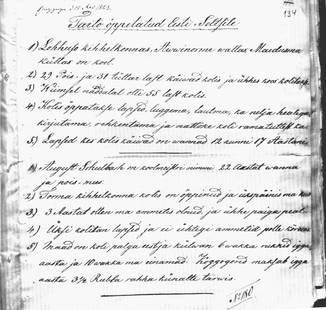 AVINURME MÕISAVALLA HARIDUSELU 1863